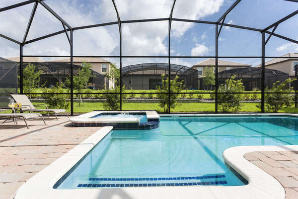 You can soak up the sun from your loungers or enjoy the spillover spa