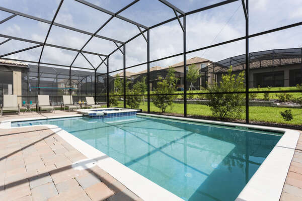 Swim in your own private screened-in pool