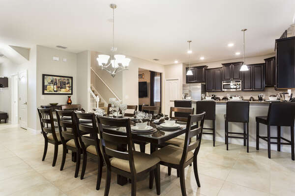 The formal dining space has seating for 10
