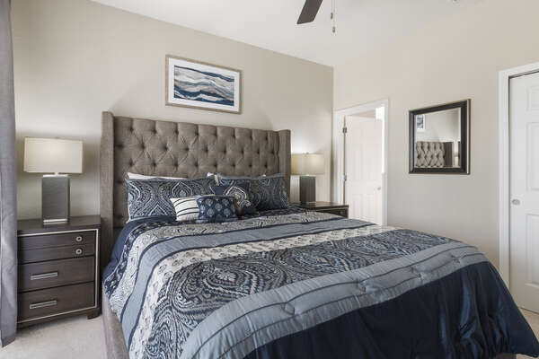 A master suite with king bed and en-suite bathroom