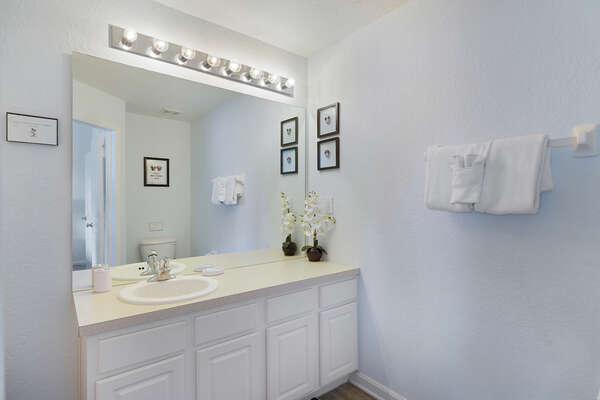 Large vanity on the master bathroom on the second floor
