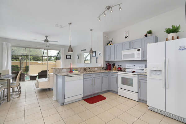 The kitchen allows a unique view of the home