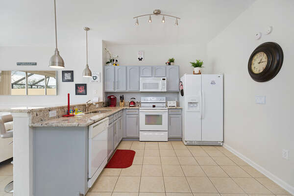 Fully-equipped kitchen has all you need to prepare a delicious meal