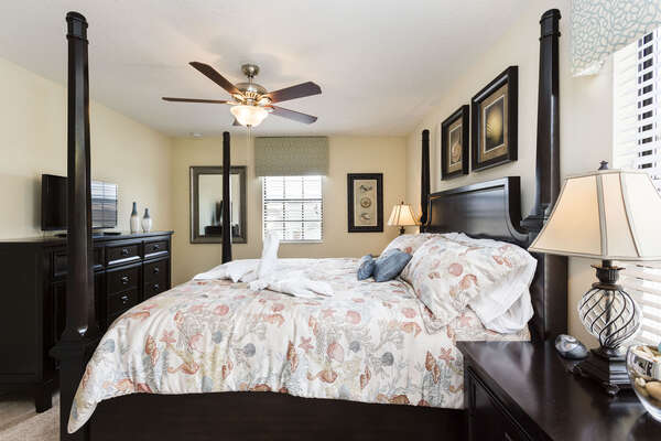 This stylish King master suite is also located on the first floor