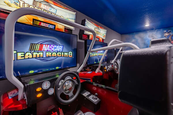 Show off your driving skills on the Team Racing arcade machines
