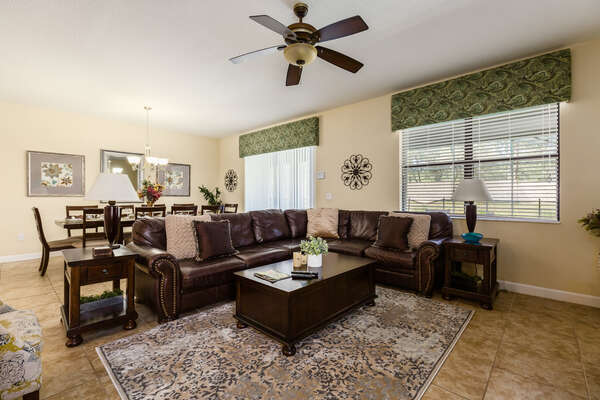 The open concept floor plan is perfect for spending time together as a family while on vacation