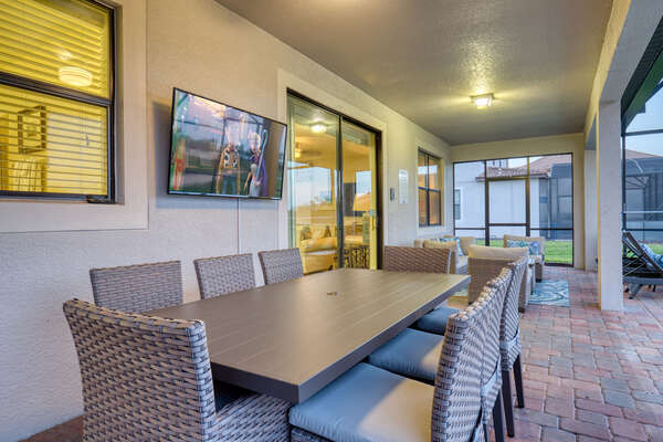 Watch TV while dining al fresco