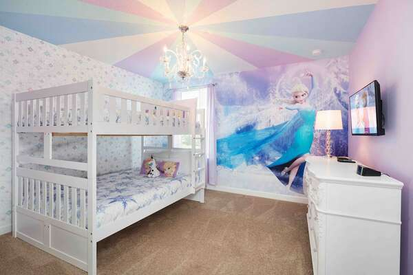 Princesses will love their magical bedroom customized just for them on the second floor with a twin/