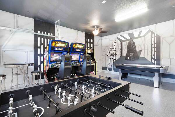 The game room features two sit down Fast and Furious driving game and a standup multi arcade game