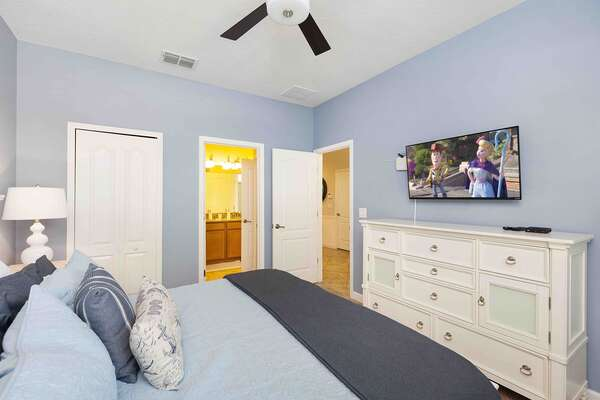 This nautical master suite also features a wall mounted cable TV perfect for watching all your favorite shows