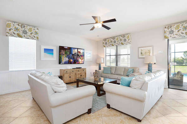 The living room area is perfect for lounging with the whole family