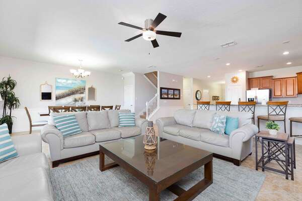 The open floor plan is perfect for spending family time together on vacation