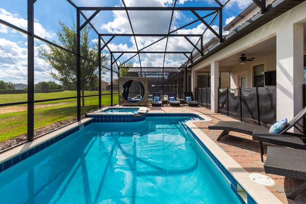 The whole family will love having their own private screened-in pool