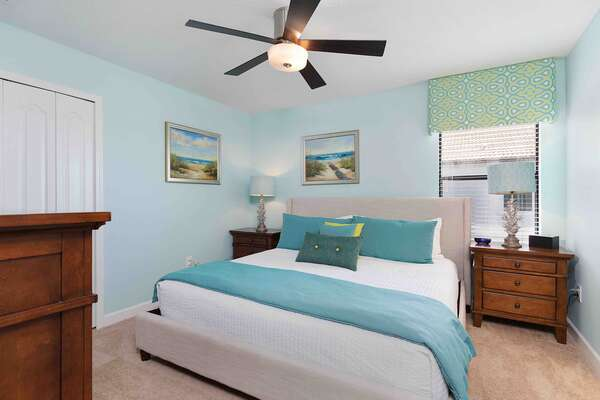 Enjoy your privacy in this ground floor master bedroom complete with a SMART TV