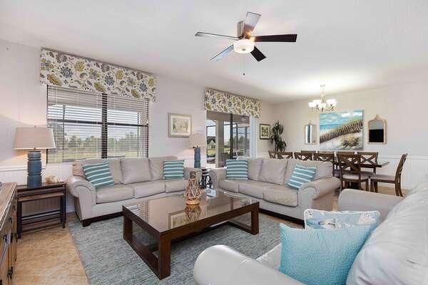 This luxurious villa has a coastal beach theme throughout the home