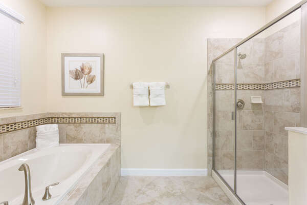 Soak in the large bathtub or take a relaxing shower