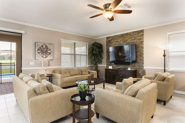 Spend family time on your vacation relaxing on plush furniture and watching a favorite TV show together