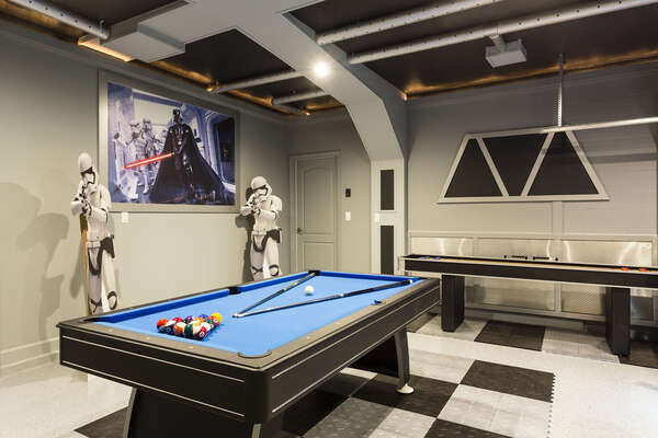 The whole family will love this galaxy inspired game room!