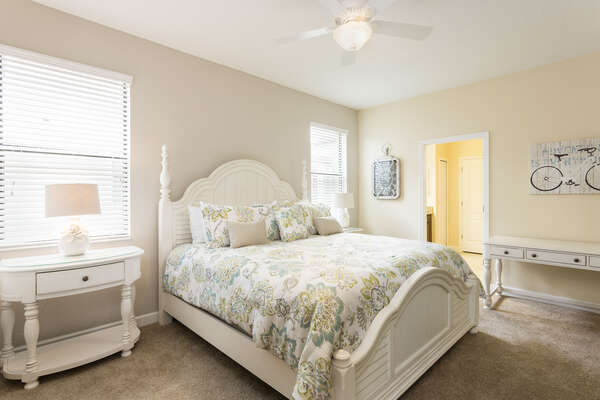 The first floor master suite features a king bed and ensuite bathroom