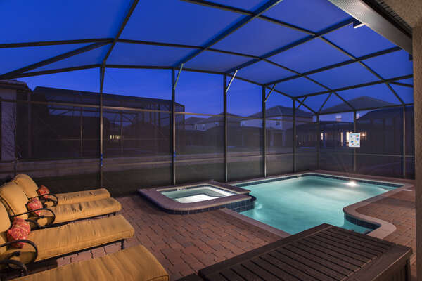 Spend evenings poolside after long days at the theme parks