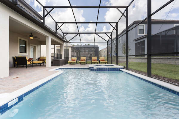 The villa comes with your own private screened-in pool and spillover spa