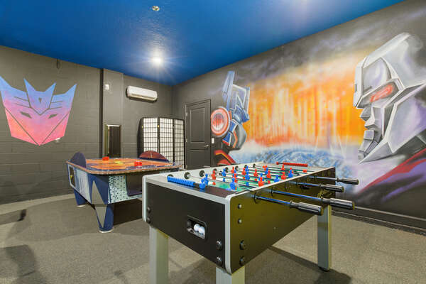 There is an Air Hockey and Foosball table for friendly competitions
