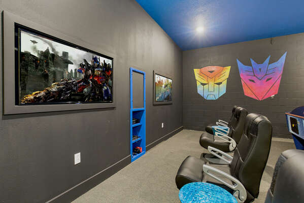 The games room features 2 48-inch SMART TVs, Xbox, and PlayStation 4