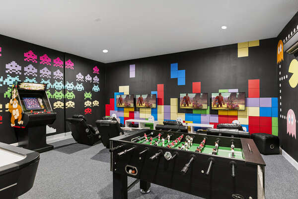 Enjoy a multi-arcade system, foosball table, air hockey table and video game systems