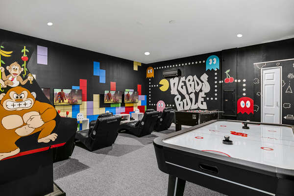 This amazing games room will provide hours of entertainment while you're surrounded by characters from classic arcade games