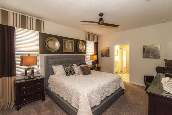 The first floor master suite features a King bed and luxurious furnishings