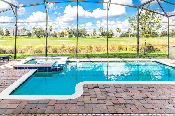 Take a dip in your private pool that backs to the resort golf course