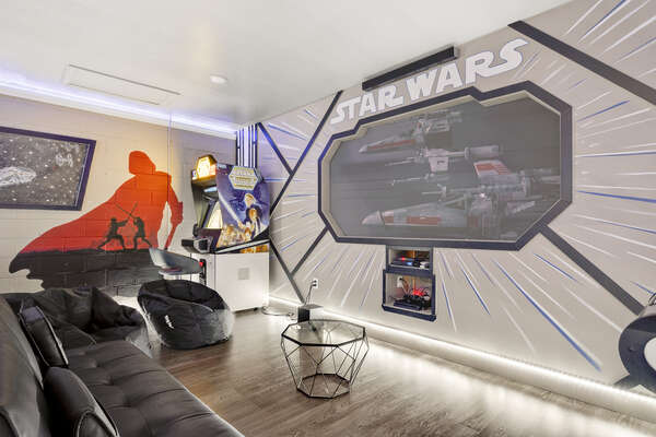 Watch some of your favorite galactic movies on the projection screen