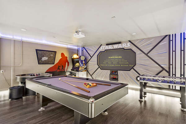 The whole family will want to play all day in this awesome game room