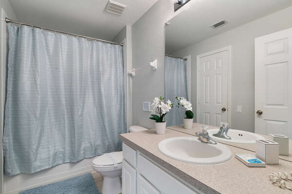 Master ensuite bathroom with combination of shower/tub