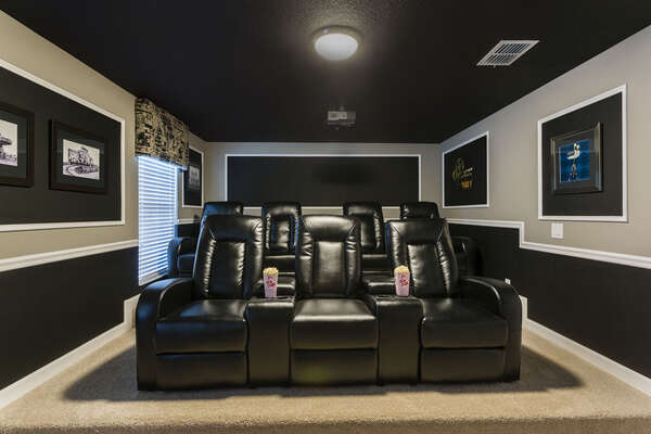 The whole family will love the private movie theater room with 7 comfortable recliners