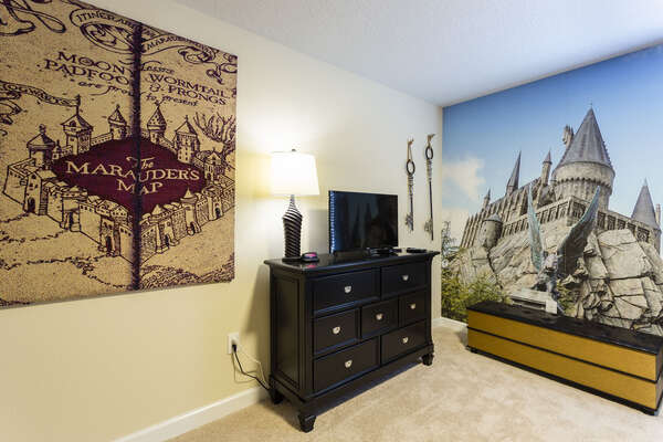 Watch some favorite movies on your own TV in this magical bedroom