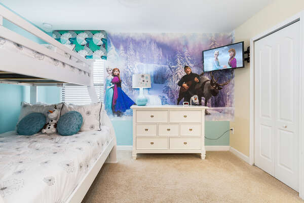 Princesses will feel right at home in their own custom bedroom with a twin over full bunk bed