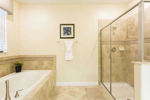 The ensuite master bathroom is complete with a walk-in shower and garden tub