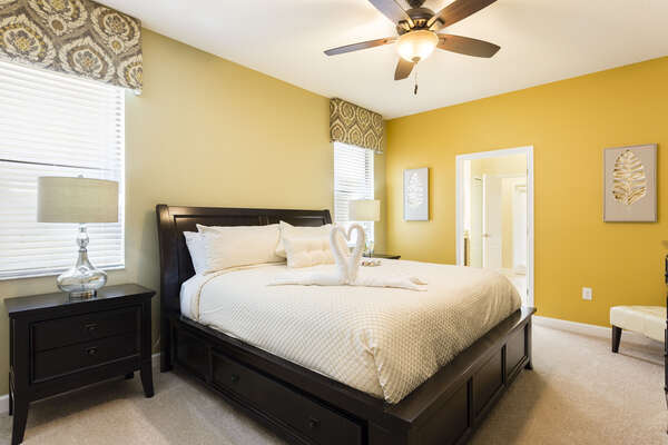 Downstairs master bedroom perfectly decorated for your comfort with a king bed