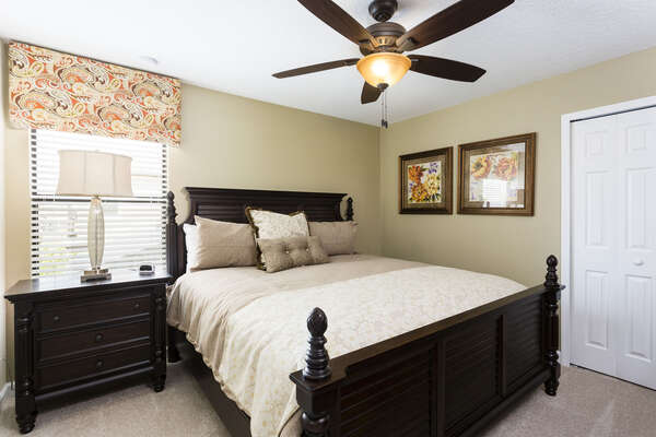 This plush king bedroom is located on the second floor