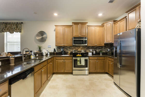 The fully-equipped kitchen is great for making family meals together