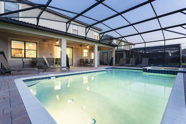 Take advantage of your own private screened-in pool at any time of day