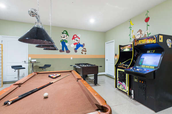 The multi-arcade, golden tee arcade, and a foosball table will be fun for the whole family