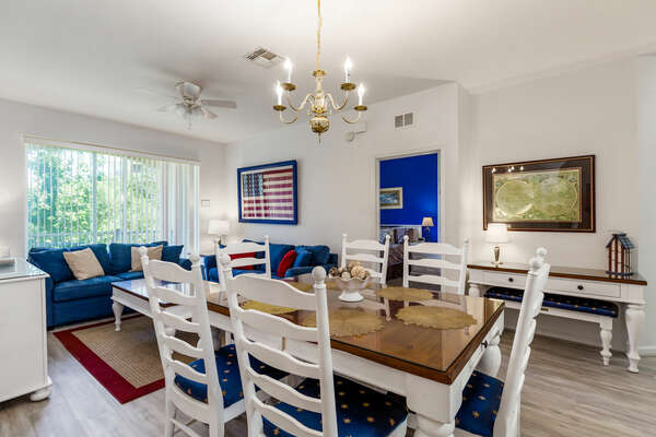 Beautiful dining table has seating for 6