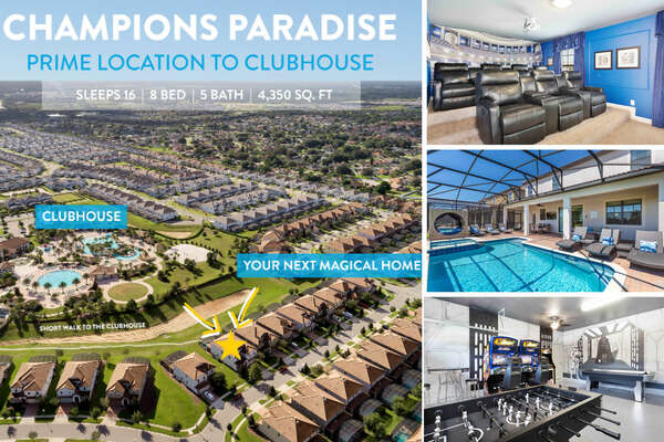 Champions Paradise is a beautiful 8 bedroom vacation home located in a prime location close to the clubhouse in Championsgate Resort. | PHOTOS TAKEN: May 2019