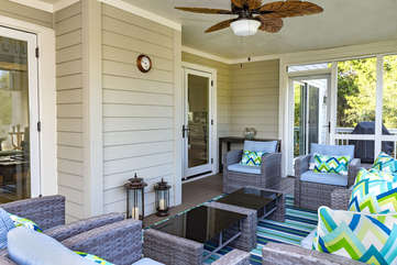 Relax in one of two screened porches