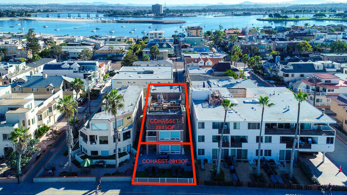Aerial View of our San Diego Mission Beach Rental.