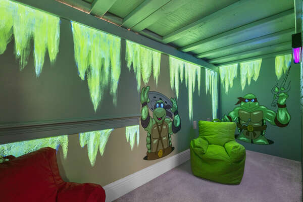 The kids can play in this underground play area featuring a SMART TV