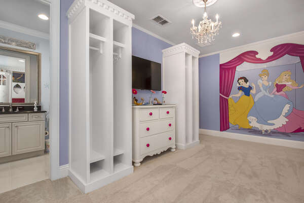 The third floor Princess Suite features beautiful hand painted characters and royal touches throughout