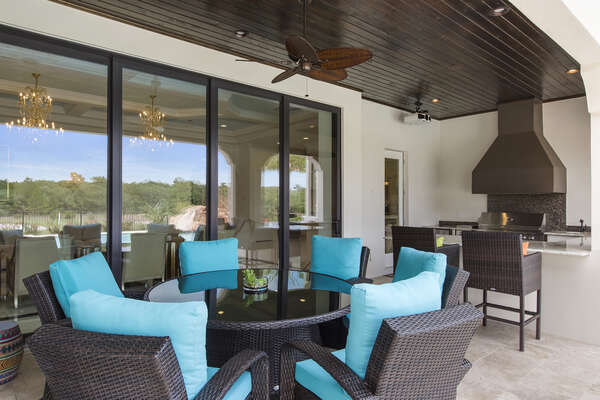 Grill up something great on the summer kitchen then dine al fresco at the luxury patio furniture